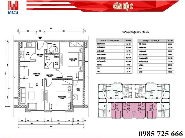Thiết kế chi tiết căn hộ loại C dự án C2 Xuân Đỉnh