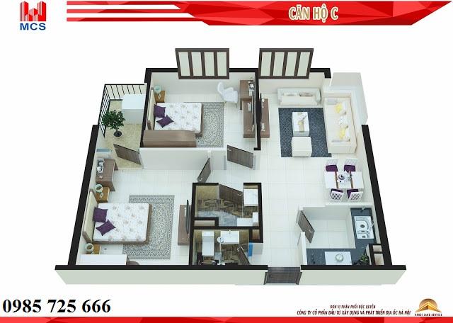 Thiết kế chi tiết căn hộ loại C chung cư C2 Xuân Đỉnh