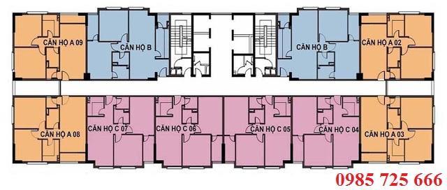 Mặt bằng tòa C2 chung cư C1-C2 Xuân Đỉnh