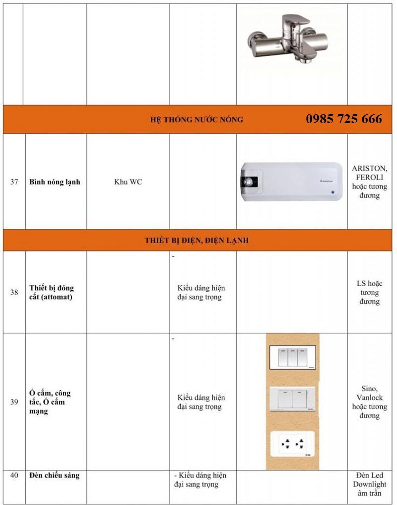 Vật liệu hoàn thiện nội thất dự án Hateco Xuân Phương 6
