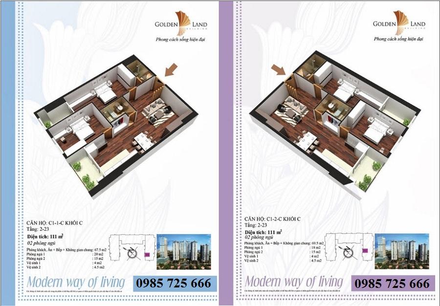 Thiết kế căn hộ a1 Golden Land 275 Nguyễn Trãi