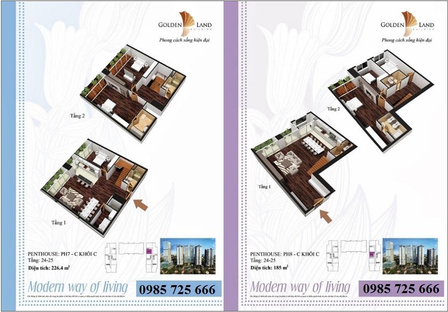 Thiết kế căn hộ a12 dự án Golden Land 275 Nguyễn Trãi