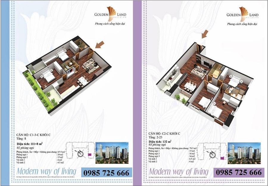 Thiết kế căn hộ a2 dự án Golden Land 275 Nguyễn Trãi