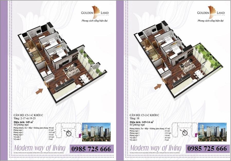 Thiết kế căn hộ a3 dự án Golden Land 275 Nguyễn Trãi
