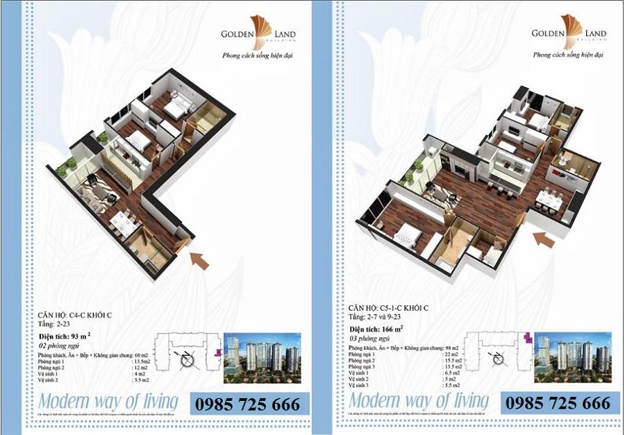 Thiết kế căn hộ a4 dự án Golden Land 275 Nguyễn Trãi