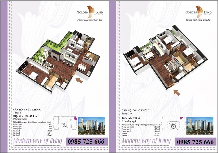 Thiết kế căn hộ a5 Golden Land 275 Nguyễn Trãi