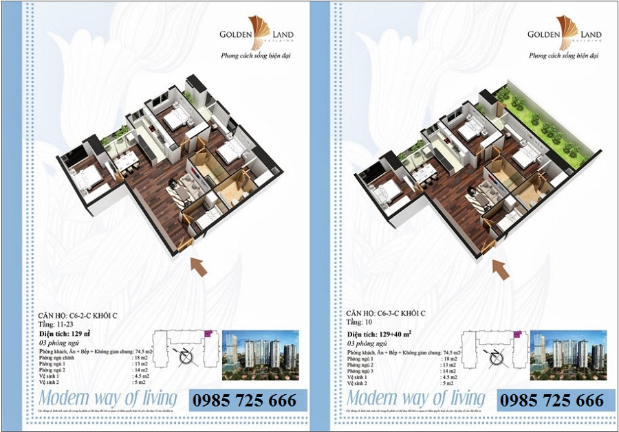 Thiết kế căn hộ a6 Golden Land 275 Nguyễn Trãi