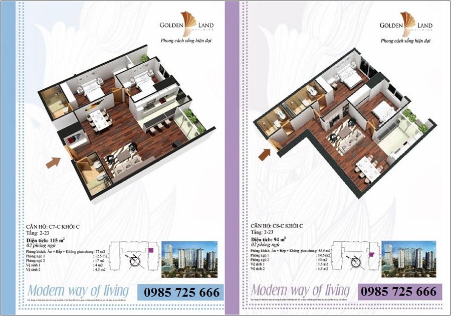 Thiết kế căn hộ a7 dự án Golden Land 275 Nguyễn Trãi