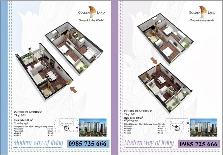 Thiết kế căn hộ a8 dự án Golden Land 275 Nguyễn Trãi