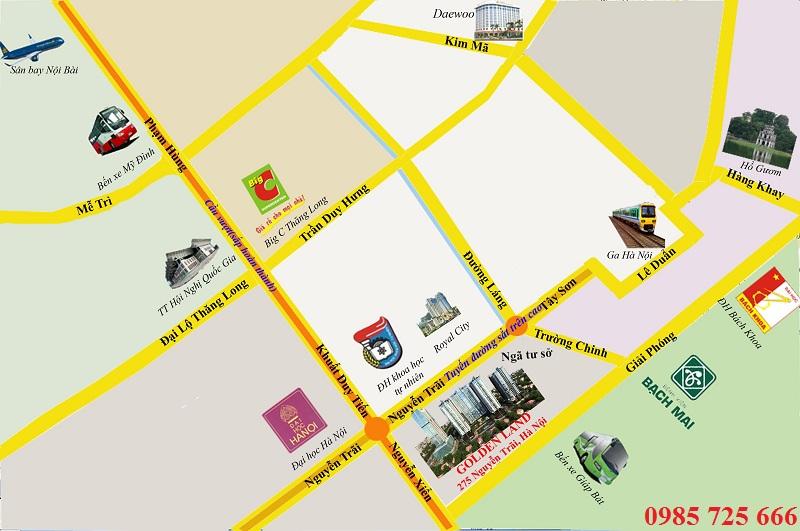 Vị trí dự án Golden Land 275 Nguyễn Trãi