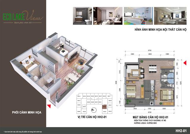Thiết kế căn hộ HH2-01 Dự án Eco Lake View 32 Đại Từ