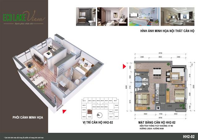 Thiết kế căn hộ HH2-02 Eco Lake View 32 Đại Từ