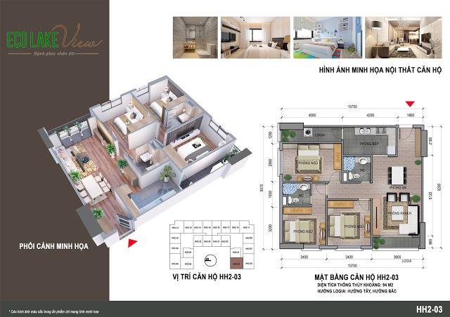 Thiết kế căn hộ HH2-03 Eco Lake View 32 Đại Từ