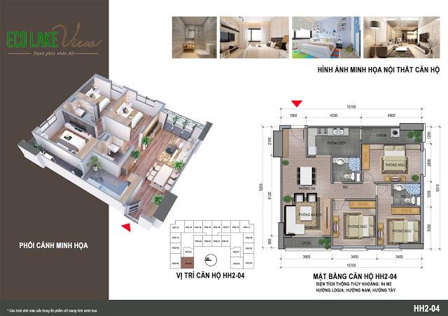 Thiết kế căn hộ HH2-04 Eco Lake View 32 Đại Từ