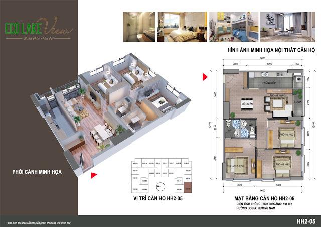 Thiết kế căn hộ HH2-05 Eco Lake View 32 Đại Từ