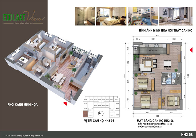 Thiết kế căn hộ HH2-06 Eco Lake View 32 Đại Từ