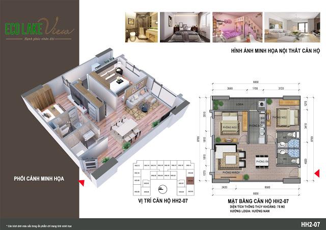 Thiết kế căn hộ HH2-07 Eco Lake View 32 Đại Từ