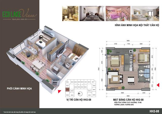 Thiết kế căn hộ HH2-08 Eco Lake View 32 Đại Từ