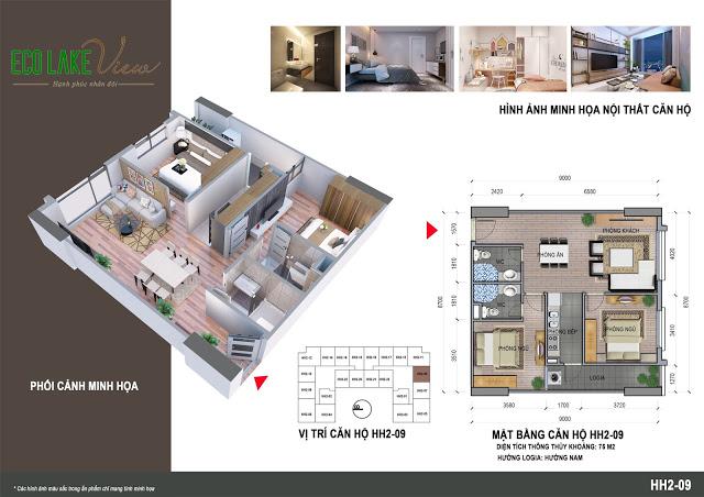 Thiết kế căn hộ HH2-09 Dự án Eco Lake View 32 Đại Từ