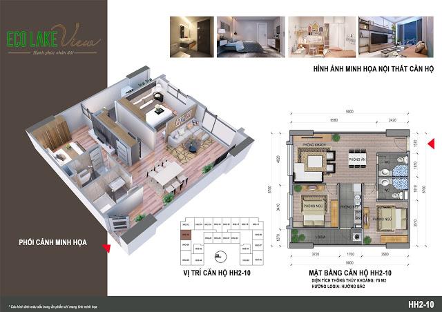 Thiết kế căn hộ HH2-10 Eco Lake View 32 Đại Từ