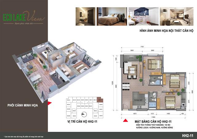 Thiết kế căn hộ HH2-11 Eco Lake View 32 Đại Từ