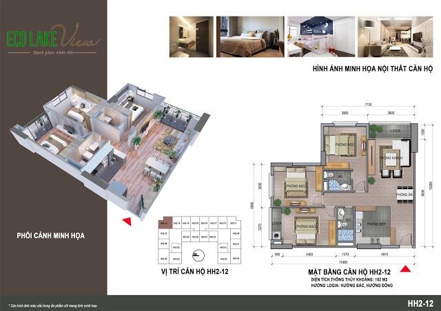 Thiết kế căn hộ HH2-12 Dự án Eco Lake View 32 Đại Từ