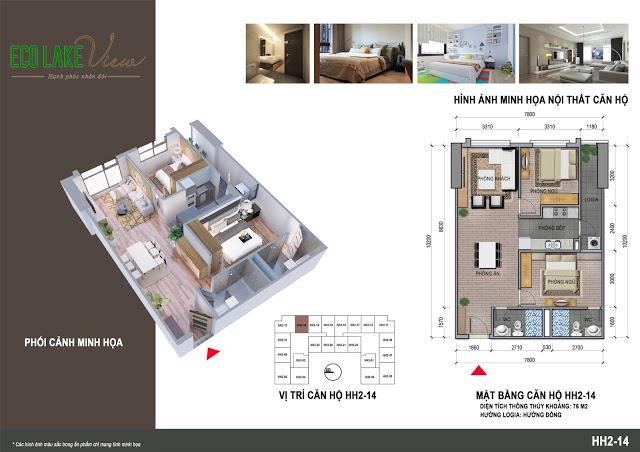 Thiết kế căn hộ HH2-14 Eco Lake View 32 Đại Từ