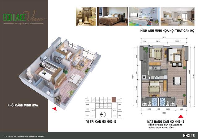 Thiết kế căn hộ HH2-15 Dự án Eco Lake View 32 Đại Từ