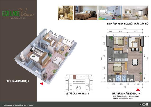Thiết kế căn hộ HH2-16 Eco Lake View 32 Đại Từ
