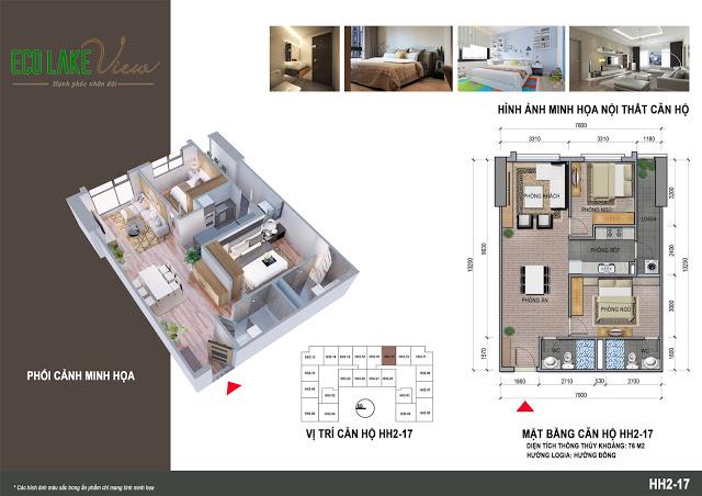 Thiết kế căn hộ HH2-17 Eco Lake View 32 Đại Từ