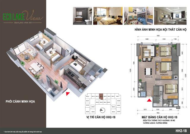 Thiết kế căn hộ HH2-18 Eco Lake View 32 Đại Từ