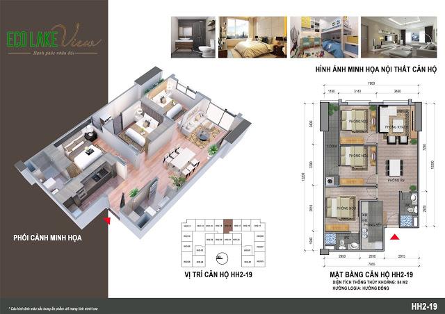 Thiết kế căn hộ HH2-19 Eco Lake View 32 Đại Từ