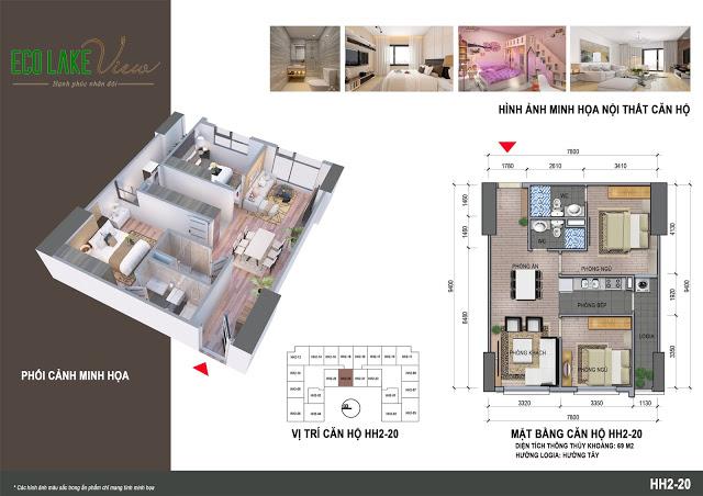 Thiết kế căn hộ HH2-20 Dự án Eco Lake View 32 Đại Từ