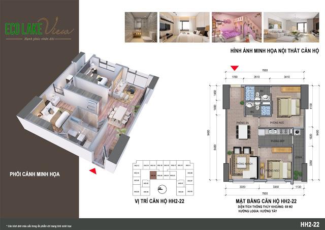 Thiết kế căn hộ HH2-22 Dự án Eco Lake View 32 Đại Từ