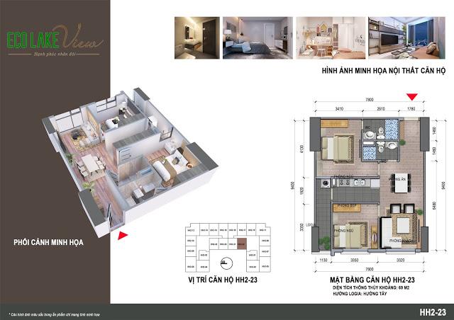 Thiết kế căn hộ HH2-23 Dự án Eco Lake View 32 Đại Từ