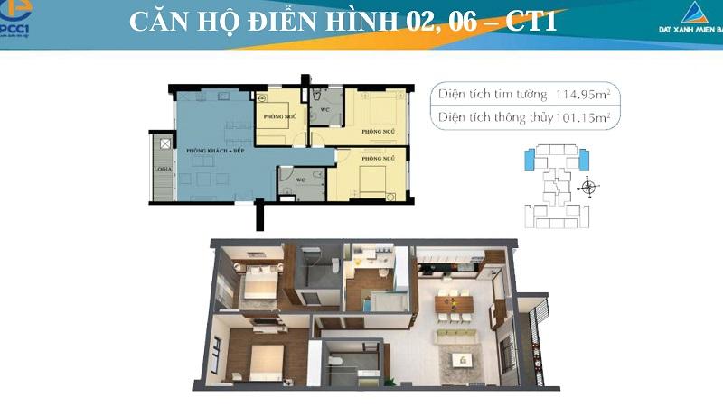 Thiết kế chi tiết căn hộ 2,6 tòa CT1 Mỹ Đình Plaza 2