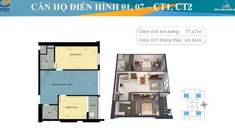 Thiết kế chi tiết căn hộ 01,07 tòa CT1 -CT2 chung cư Mỹ Đình Plaza 2