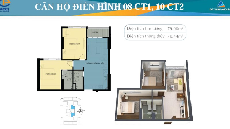 Thiết kế chi tiết căn hộ 8 tòa CT1, căn hộ 10 tòa CT2 chung cư Mỹ Đình Plaza 2