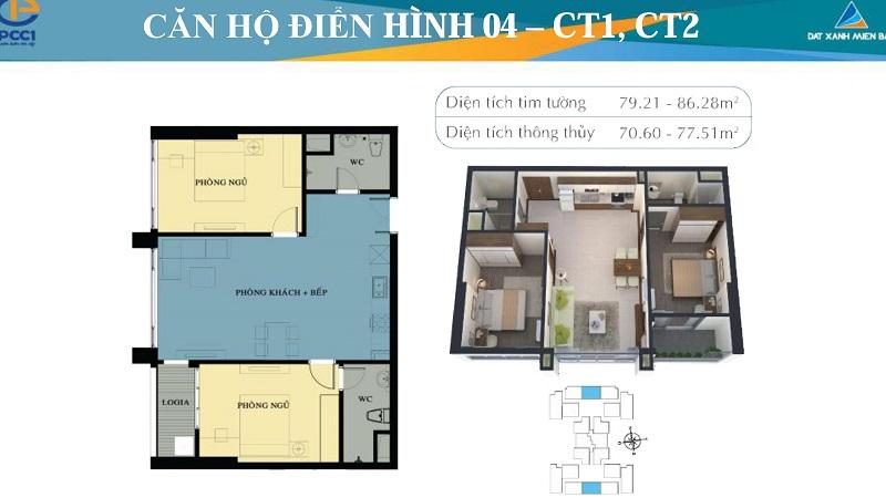 Thiết kế chi tiết căn hộ 4 tòa CT1, CT2 chung cư Mỹ Đình Plaza 2