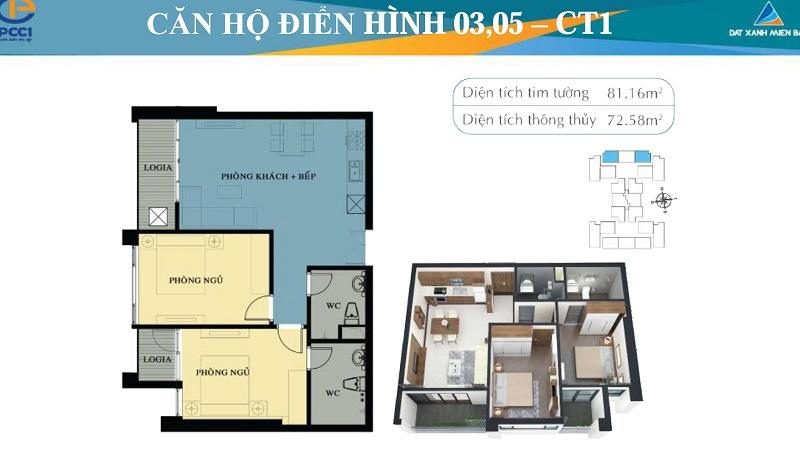 Thiết kế chi tiết căn hộ 3,5 tòa CT1-CT2 chung cư Mỹ Đình Plaza 2