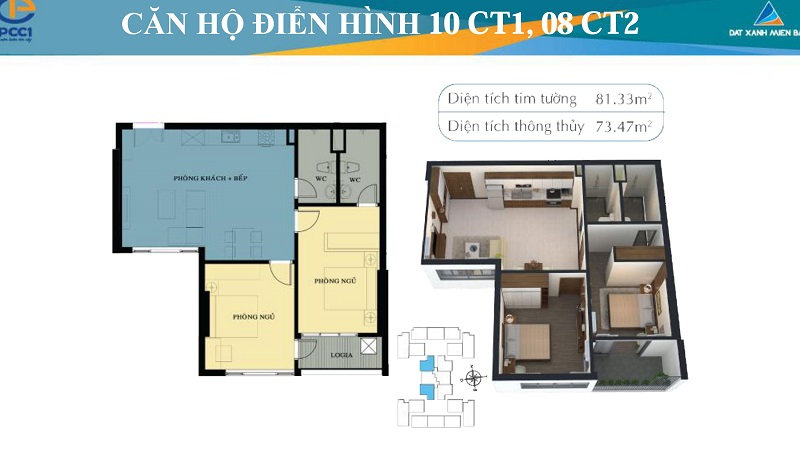 Thiết kế chi tiết căn hộ 10 tòa CT1, căn hộ 8 tòa CT2 Mỹ Đình Plaza 2