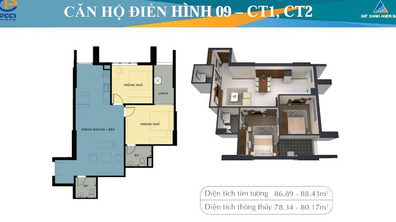 Thiết kế chi tiết căn hộ 9 tòa CT1-CT2 chung cư Mỹ Đình Plaza 2