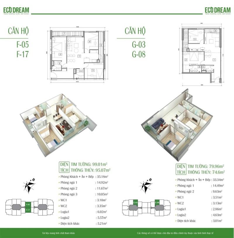 Thiết kế chi tiết căn hộ chung cư Eco Dream Nguyễn Xiển