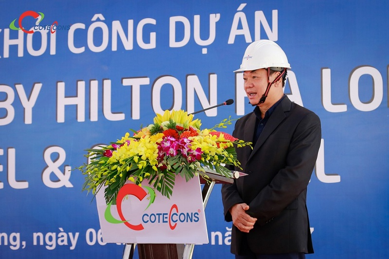 Ông Trần Văn Chính – Đại diện Coteccons phát biểu tại buổi lễ khởi công