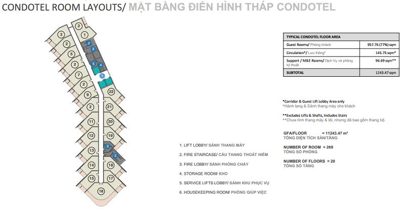 Mặt bằng điển hình Double Tree by Hilton Hạ Long Hotel & Condotel