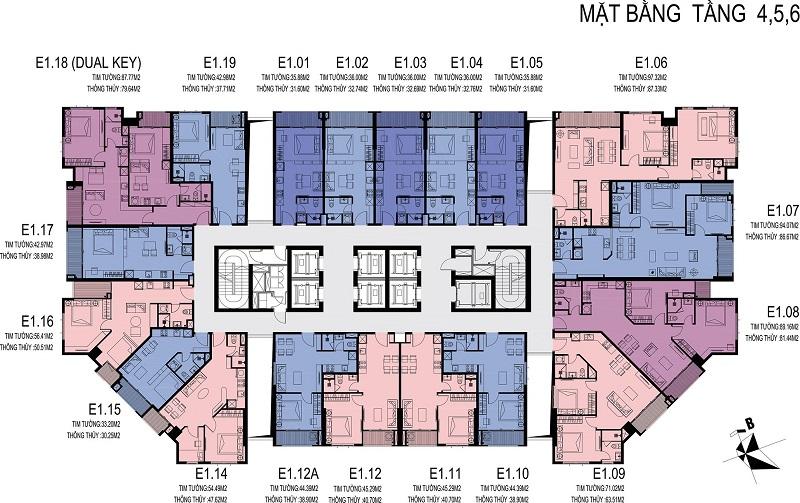 Mặt bằng căn hộ tầng 4-5-6 D El Dorado Phú Thượng Tây Hồ