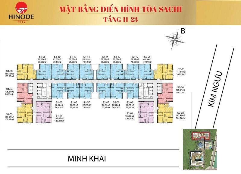 Mặt bằng tòa Sachi T11-23 Hinode City 210 Minh Khai