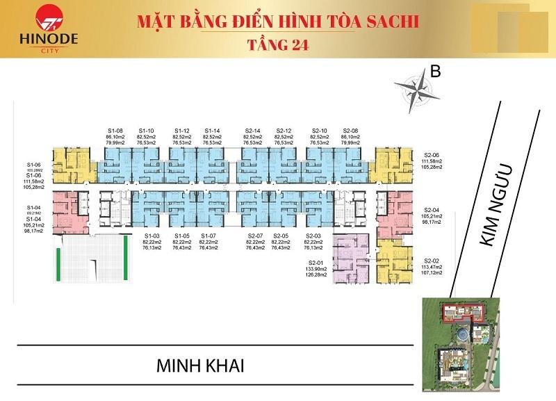 Mặt bằng tòa Sachi T24 Hinode City 210 Minh Khai