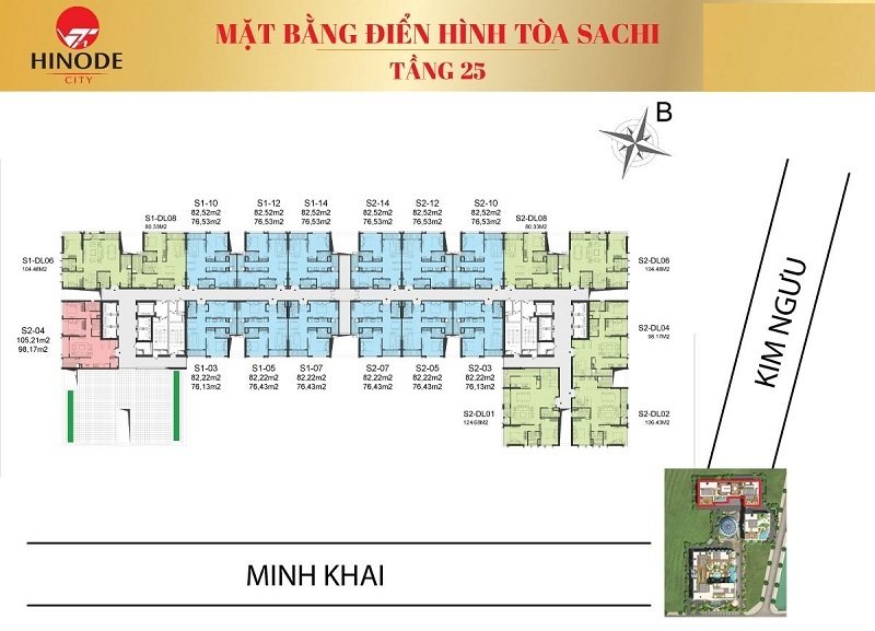 Mặt bằng tòa Sachi T25 Hinode City 210 Minh Khai
