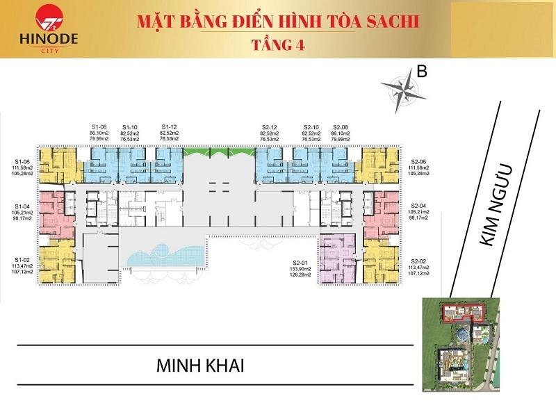 Mặt bằng tòa Sachi T4 Hinode City 210 Minh Khai